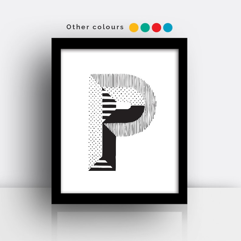 Letter P print  hand drawn typeface image 0