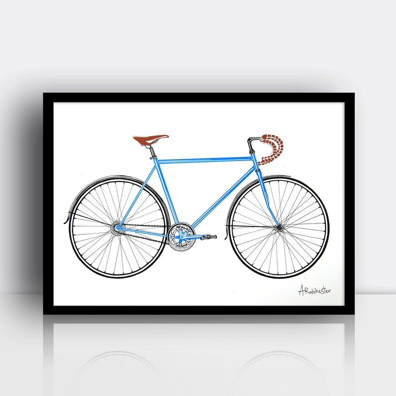Road bike screen print 3 colour A3 sized limited edition image 0