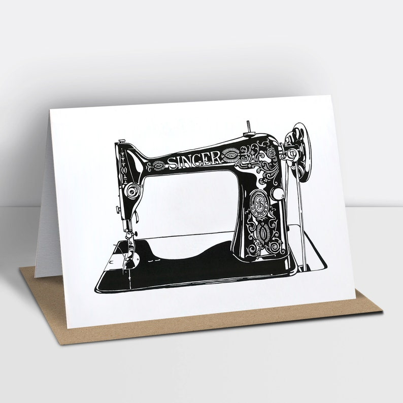 Singer sewing machine greetings card risograph printed image 0