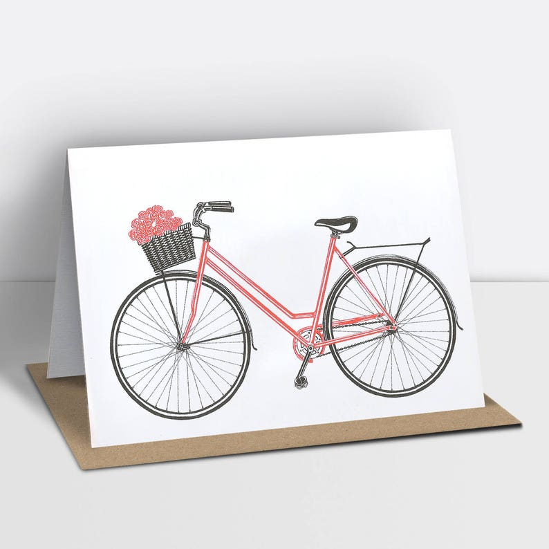 Bicycle greetings card with a basket of flowers risograph image 0