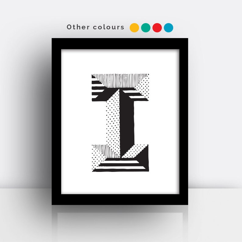 Letter I print  hand drawn typeface image 0