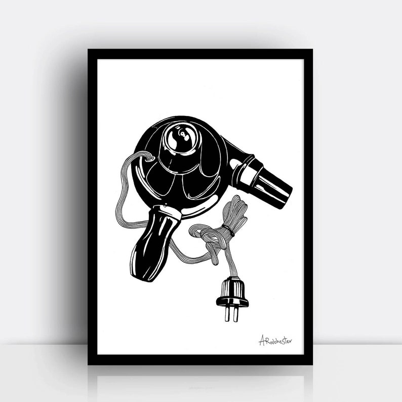 Hair dryer A3 screen print limited edition  50s vintage image 0