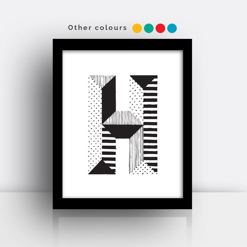 Letter H print  hand drawn typeface image 0