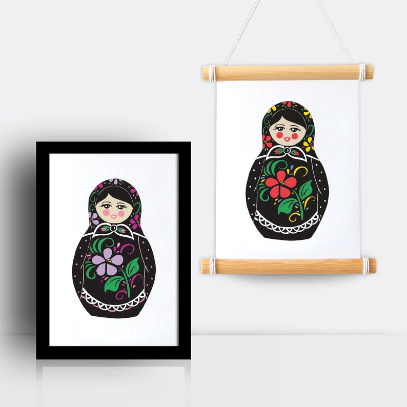 Russian Doll illustrated A5 print image 0