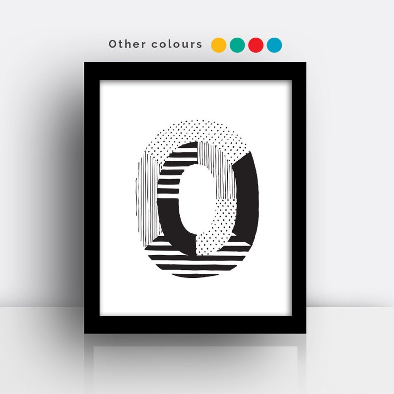 Letter O print  hand drawn typeface image 0