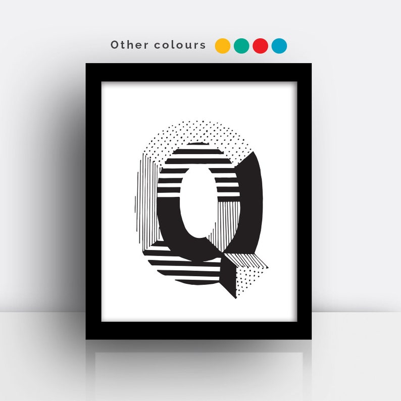 Letter Q print  hand drawn typeface image 0