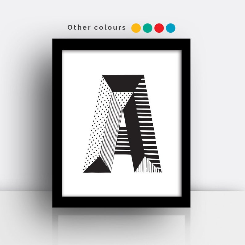 Letter A print  hand drawn typeface image 0