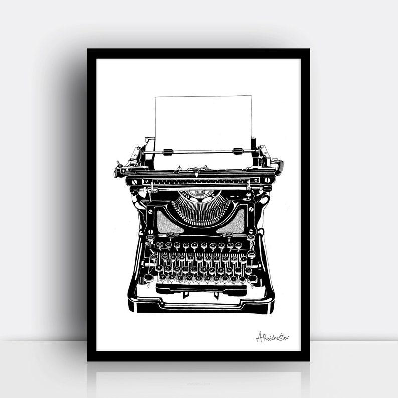 Typewriter print A4 risograph print  Vintage style image 0