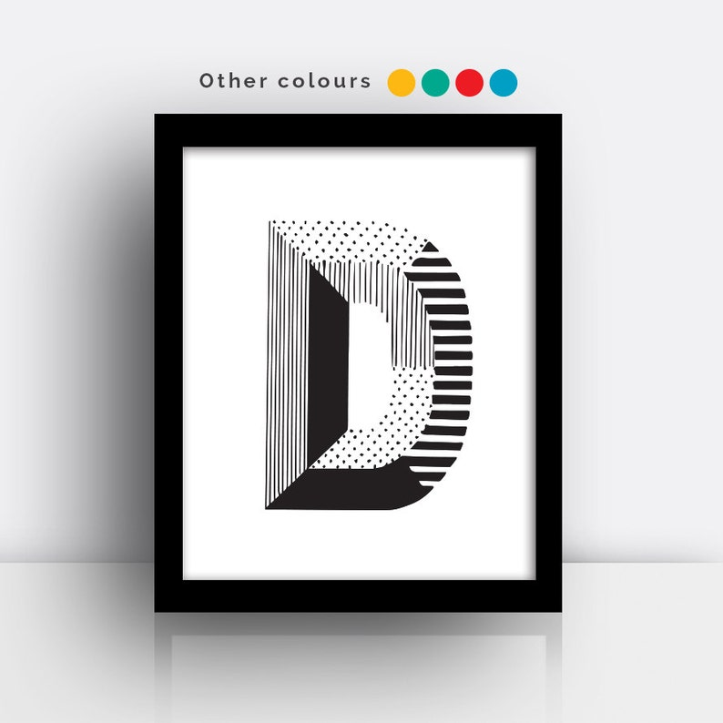 Letter D print  hand drawn typeface image 0