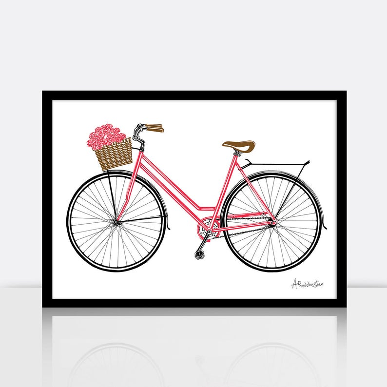 Bicycle screen print  ROSIE  3 colour A3 sized limited image 0
