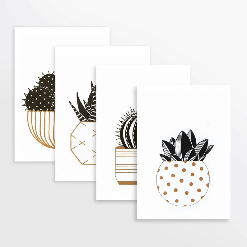 Cactus prints in gold & black set of four A5 risograph image 0