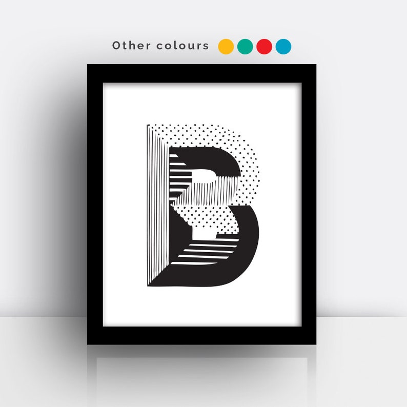 Letter B print  hand drawn typeface image 0