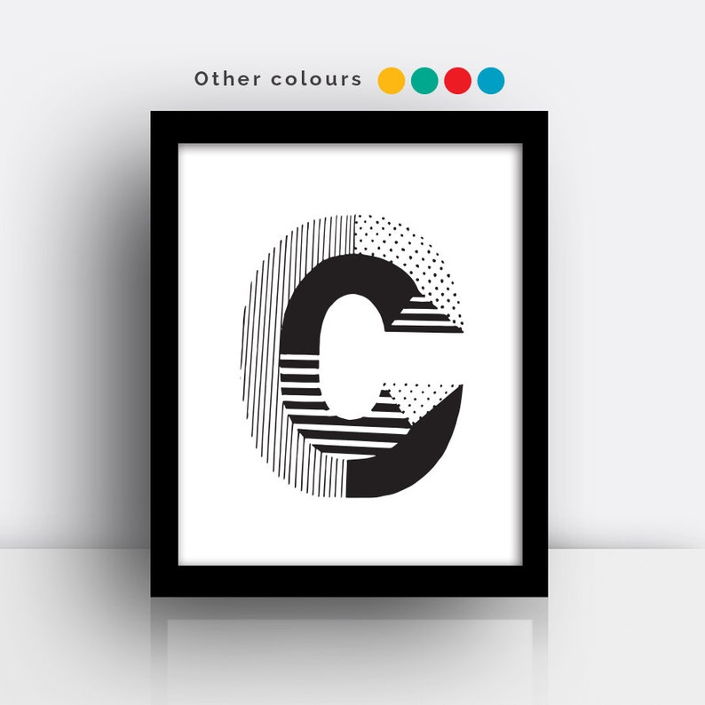 Letter C print  hand drawn typeface image 0