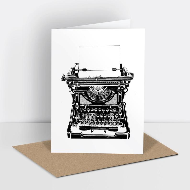 Typewriter greetings card risograph printed image 0