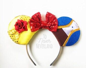 Beauty and the Beast Ears, Beauty and the Beast Mickey Ears Belle Ears, Belle Mickey Ears, Beauty and the Beast Minnie Ears, PRE ORDER Belle