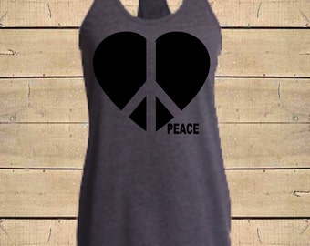 8b8d08e79bf PEACE SIGN Tank. Heart Shirts, Peace Shirts, Hippie tank, Love Shirts, Peace  & Love, Womens (Fitted Style) Tri-Blend Racerback Tank Top