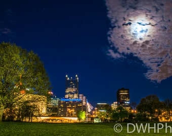Moon over Pittsburgh from the Point