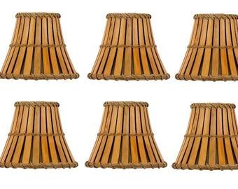 UpgradeLights Alle Bambus Mit Bronze Innen 4 Zoll Ausgestellt Glocke Clip  Auf Kronleuchter Lampenschirme 3 X 4 X 4 (Set Von 6)