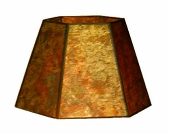 Mica lamp shade etsy upgradelights amber mica hex 8 inch clip on lampshade replacement aloadofball Images