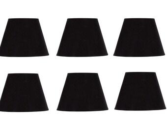 Fesselnd Satz Von Sechs Europäischen Trommel Stil Kronleuchter Lampe Schatten Mini  Schirm Schwarzen Seide