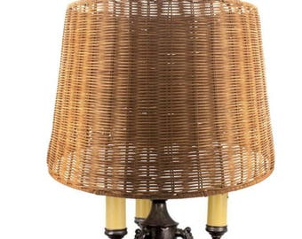 Wicker table lamp etsy upgradelights medium brown woven wicker 16 inch floor or table lampshade 14x16x1175 aloadofball Image collections