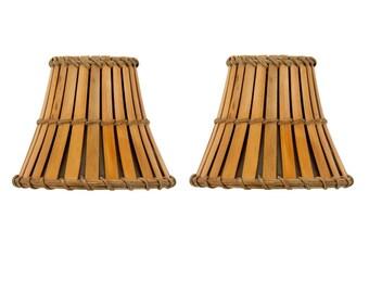 Leuchten Satz Von 2 Bambus Stil Mini 4 Zoll Clip Auf Kronleuchter  Lampenschirm Zu Aktualisieren