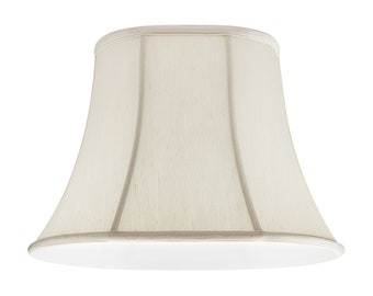 Off White Silk Shantung Oval Bell Lamp Shade