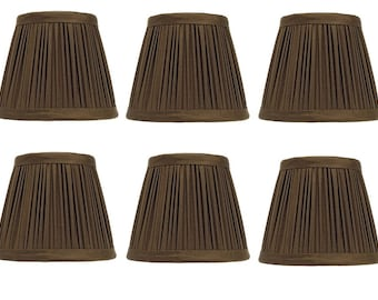 Set of 6 Clip on Pleated Chandelier Shade European Barrel Lampshades in Pleated Chocolate Brown