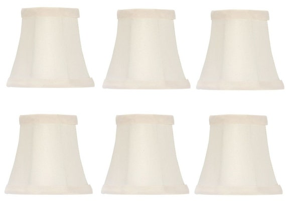 Chandelier Lamp Shades Clip On 4 Inch White Silk Set Of Six Clips Onto Bulb Ui18