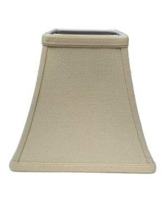 Beige Linen 10 Inch Square Bell Candle Stick Clip On Lampshade 5x10x9