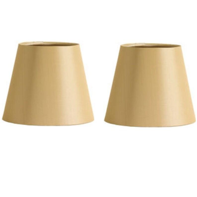 set of Six European Drum Chandelier Lamp Shade Mini Shade Beige Linen Color
