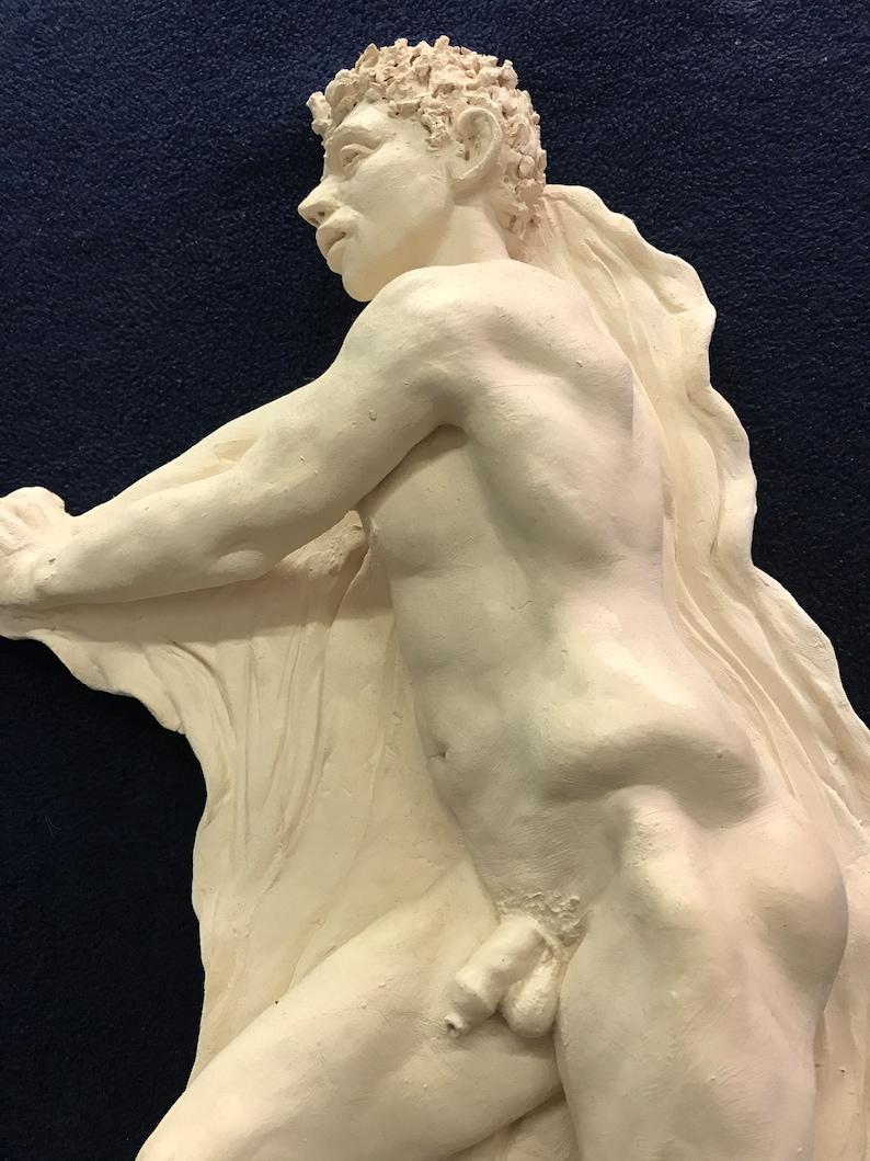 Narcissus pompeii nude male art statue sculpture cast marble museum copy