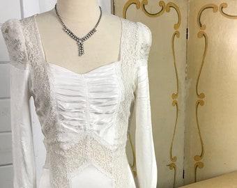 1930's Vintage Wedding Dress / Art Deco Wedding Dress / Silk Charmeuse Wedding Dress / Art Deco Period Bridal Gown / 1930s Silk Bias Cut