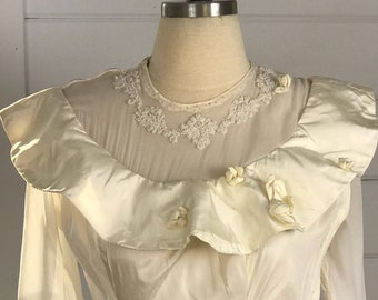 1930s Vintage Ivory Wedding Dress with Illusion Neckline   Vintage 1930s Bridal Gown   Vintage Wedding Dress with Hoop Skirt   Art Deco