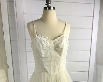 1950s Vintage Emma Domb Tulle Wedding Dress or Prom Dress / 50's Designer Bridal Gown / Mid Century Modern Wedding Dress / Bridal Ballgown
