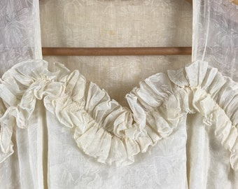 1930s Vintage Buttercream Long-Sleeve Wedding Dress with Ruffled Accents / Vintage 1930s Wedding Dress / Art Deco Wedding Dress / 1930s