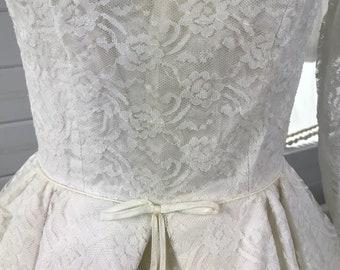 1950s Vintage Lace Wedding Dress / 50's Bridal Gown / Mid Century Modern Wedding Dress / Size 2