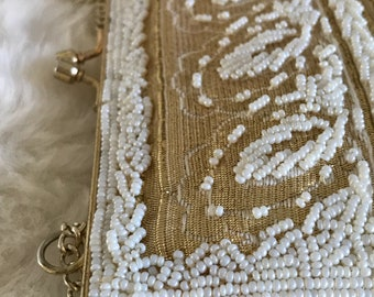 1950s Vintage Magid Gold Lame and White Glass Seed Beaded Bridal Bag / 1950s Beaded Bridal Shoulder Purse / Vintage Bridal Purse / 1950s