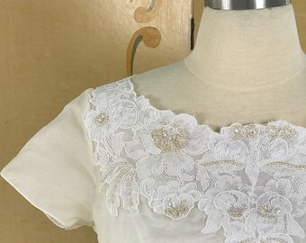 1950s Vintage Lace and Chiffon Cap Sleeve Vintage Wedding Dress / 50's Bridal Gown / Mid Century Modern Gown / Vintage Wedding Dress / 1950s