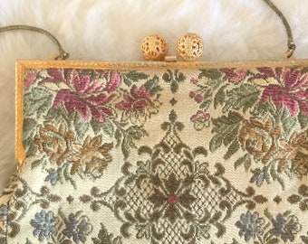 1940s Vintage Bridal Bag / 1940s Floral Tapestry Bridal Handbag / Vintage Bridal Purse / Handbag Made in West Germany  in 1940s / Art Deco
