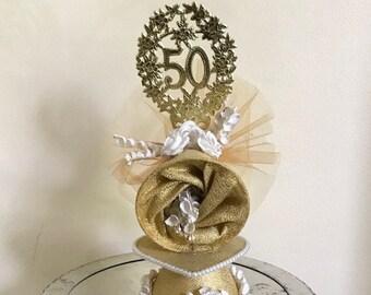50th Anniversary Cake Topper / Vintage Wedding Cake Topper / Golden Anniversary Cake Decor / Made in West Germany / Anniv. Cake Decoration