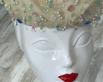 86d2ed665a0 1950s Christian Dior Couture Bridal Hat   Vintage Christian Dior   Christian  Dior Chapeaux   Couture Christian Dior   Beaded Christian Dior