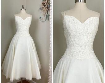 Houndstooth Tea Length Wedding Dresses