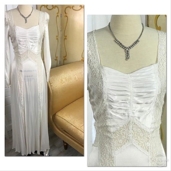1930's Vintage Wedding Dress / Art Deco Wedding Dr