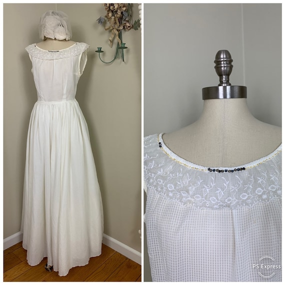 1960s Simple and Sweet Wedding Dress / Casual Cott