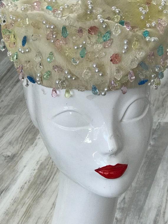 1950s Christian Dior Couture Bridal Hat / Vintage… - image 2