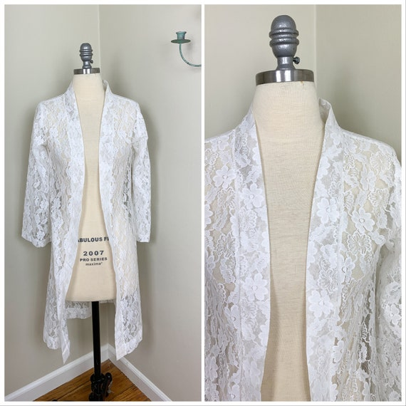 1970s Long White Sheer Lace Vintage Wedding Cover