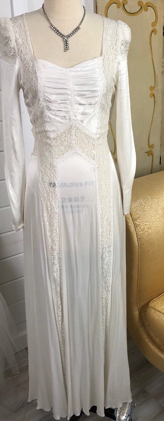 1930's Vintage Wedding Dress / Art Deco Wedding D… - image 2