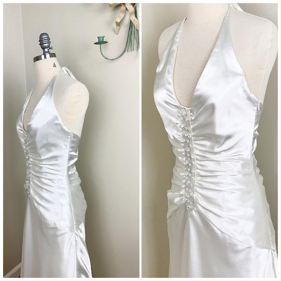 Vintage Jessica McClintock Halter Bridal Gown / St