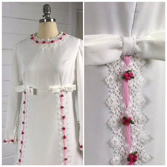 1970s Mod Vintage Wedding Dress / Casual Wedding D
